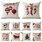 Christmas Linen Cushion Cover Throw Pillow Case Xmas Home Decor Festive Gift