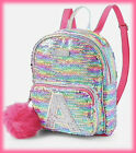NWT JUSTICE Girls Rainbow Initial Flip Sequin MINI Backpack CHOOSE YOUR INITIAL