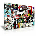 Banksy Collage Montage canvas wall art Wood Framed Ready to Hang XXL