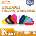 Men/Women Silicone Bracelet Rubber Blank Wristband Fashionable Popular Cuff Band image