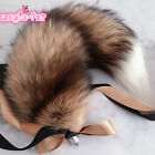 Brown Real Sun Fox Fur Tail Plug Funny Toys Adult Games Cosplay Gift