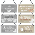 Bathroom Accessories Plaques Sign Novelty Home Decor Grey / Beige Toilet Gifts