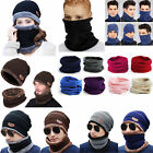 Men Winter Beanie Hat and Scarf Set Warm Fleece Knitted Thick Thermal Cap Unisex