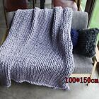 Winter Warm Chunky Knit Blanket Thick Yarn Merino Handmade Bulky Knitted Throw