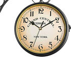 Outdoor Vintage Double Sided Wall Clock Retro Battery Powered Coffee Bar Hanging