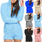 Women Faux Fur Solid Long Sleeved Hooded Plush Jumpsuits Rompers Warm Playsuits