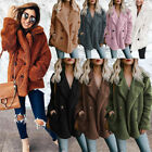 Winter Warm Pocket Fluffy Coat Fleece Fur Jacket Women Hoodies Outerwear Wraps