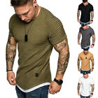 US Mens Slim Fit Shirts Solid Short Sleeve Casual T-shirt Tee Tops Muscle Tee image