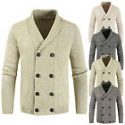 Men's Winter Warm Double-breasted Knitwear Coat Cardigan Solid Casual Sweater