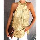 Womens Halter Neck Tank Tops Ladies Summer Casual Sleeveless T shirt Blouse Vest