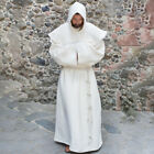 Mens Monk Costume Brown Medieval Friar Hooded Robe Renaissance Halloween Party