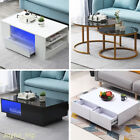 Modern Coffee Table With Led 1/2/4 Drawers Storage Living Room Office Furniture