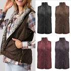 Women's Sleeveless Plush Zipper Pockets Reversible Vest Coats Jackets Outerwear