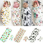 Newborn Infant Baby Swaddle Blanket Soft Sleeping Swaddle Muslin Wrap Headband f