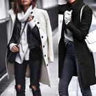 Women Long Sleeve Turn-Down Collar Jackets Woollen Coats Autumn Winter Outwear