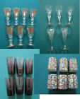 CORDIAL SHOT CRYSTAL GLASSES SET GOLD ETCH PURPLE CLEAR ETCH CERAMIC PICK ONE