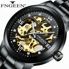 FNGEEN Men's Skeleton Stainless Steel Automatic Mechanical Sport Wrist Watch HOT image