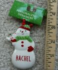 Ganz Personalized (Name) Snowman Glass Christmas Xmas Ornament NWT