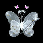 Girl Kid Butterfly Wing Wand Headband Fairy Cosplay Party Fancy Costume 3Pcs/Set