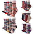 Womens 5 Pairs Vintage Style Winter Warm Thick Knit Wool Cozy Crew Socks-5pack