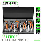131Pc Thread Repair Kit HSS Drill Helicoil Repair Kit SAE Metric Inch&MM W/Case
