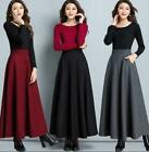 Winter Warm Womens Slim Thick Wool Pleated Long Maxi A-line Skirts Dress HOT A6