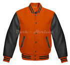 Varsity Letterman Bomber baseball  Retro Orange Wool & Black Leather sleeve