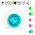 Digital Alarm Clock LED Thermometer Changing Light Night Glowing Clock For Kids