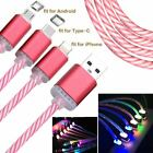 Charger Data for iOS Type-C Android LED Light Up USB Sync Cable Charging Cord 1m