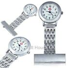 Nurse Watch Stainless Steel Silver Metal Brooch Tunic Fob Watch + Free Battery
