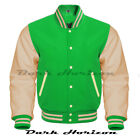 Varsity Bomber Letterman Baseball kely green Wool & Cream Leather Sleeves jacket