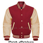 Varsity Bomber Letterman Baseball Maroon Wool & Cream Leather Sleeves jacket