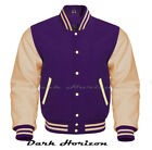 Varsity Bomber Letterman Baseball Purple Wool & Cream Leather Sleeves jacket