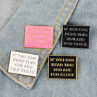 Too Close Letter Brooch Pin Jeans Collar Badge Unisex Anti Social Jewelry Code