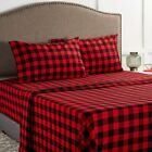 Red & Black Buffalo Plaid 100% Cotton Flannel Bed Sheets by Mainstays Queen King