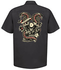 Lucky 13 Twin Cobras Motorcycle Panheads Tattoos Button Down Work Shirt LM6850TW