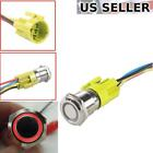 12V Latching Push Button Power Switch Stainless Steel Metal Waterproof w/ LED