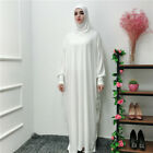 Abaya Muslim Womens Dress Islamic Kaftan Jilbab Prayer Maxi Dress Arab Robe Gown