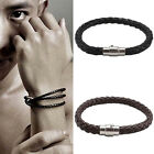 Mens Leather Braided Wristband Bracelet Stainless Steel Magnetic Clasp Uk