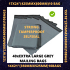 Extra Large Grey Mailing Bags Poly Postal Self Seal 12x16/15x18/14x21/17x24 Size