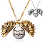 You Are My Sunshine Open Locket Sunflower Pendant Necklace Fashion Jewelry L Dh