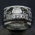 Men Zero Stainless Steel Silver Punk Hip Hop Rings Band Jewelry Party Size 6-13