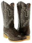 Men's Brown Cowboy Boots Ostrich Quill Design Leather Western Wear Square Toe