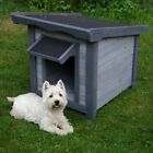 Wooden Flat-Roofed Dog Kennel Weatherproof House Small
