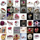 Gorgeous 925 Silver Ruby Oval Cut Ruby Jewelry Women Wedding Rings Size 6-10