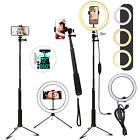 Dimmable LED Selfie Ring Light Lamp Stand Phone Holder w/Tripod For Makeup Live