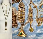 1- Antique Victorian glass FOB pendant Pocket watch chain Necklace gold OOAK  image