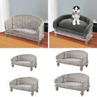 Handmade Wicker Raised Blanket Bed Pet Cat Dog Sofa w/ Cushion Kennel Mat Pillow