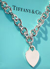 Tiffany & Co Sterling Silver Heart Tag Charm Choker Necklace 20 Inch