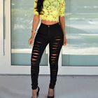 Women Stretch Distressed Ripped Skinny Denim Pants High Waisted Jeans Trousers